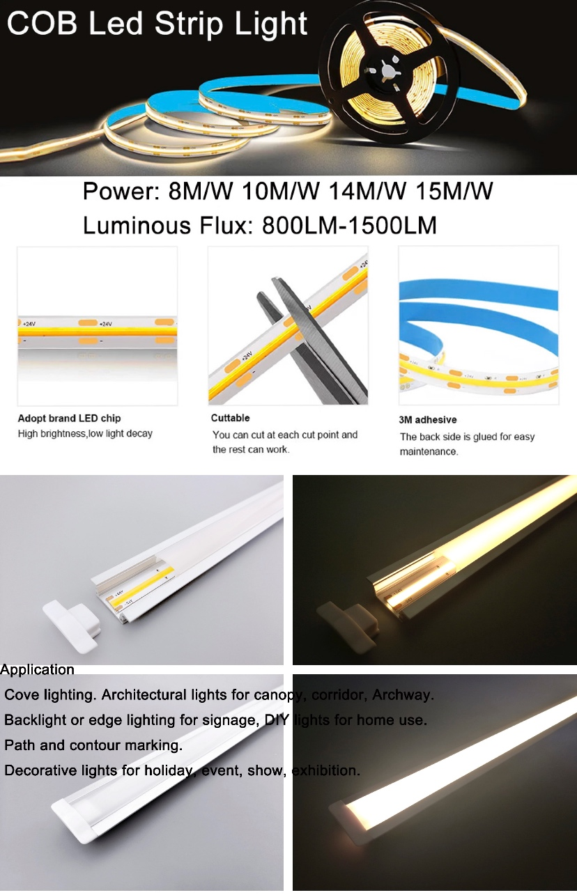 High Density No Dot COB led strip light 12V 24V